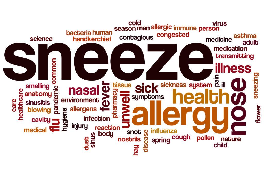 Sneeze word cloud concept